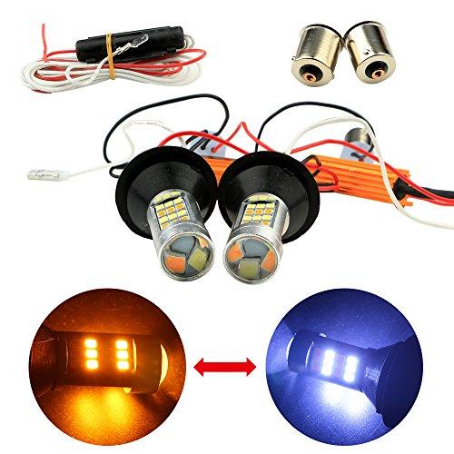 EverBrightt 1-Set Amber White Switchback 1156 BAU15S150 Degree 42SMD 2835 Chipsets Canbus LED Bulbs Kit With 1156 BA15S Base Auto Car Turn Signal Lights Daytime Running Light DC 12V