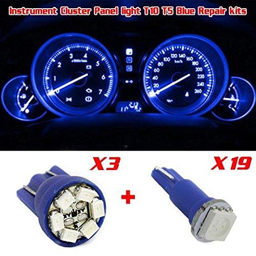 Partsam Instrument Gauge Cluster Light Indicator Blue LED Bulb Kit For Jeep Cherokee 21Pcs 194 T10 Blue LED Bulbs  74 T5 LED Blue Bulbs