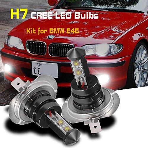 QUIOSS 2 PCS Daytime Running Light H7 CREE LED Bulbs Kit for BMW E46 3Series White New