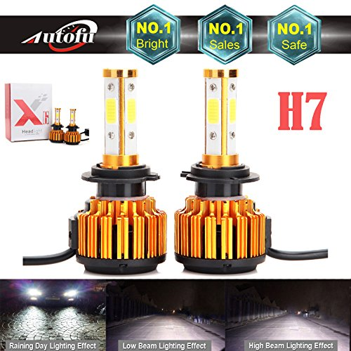 2018 Newest Car H7 LED Headlight Bulb 24000LM 4-Side HighBeam  Low Beam Super Bright - 6000K Pure Cool White Plug n Play FogHead Light Replacement