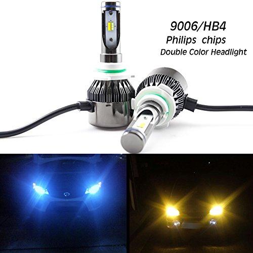 Double Color LED Headlight Kit 9006 HB4 60W 8000LM Chevrolet Dodge Nissan GMC RamHigh Low Beam Bulbs Pair Ice blueAmber