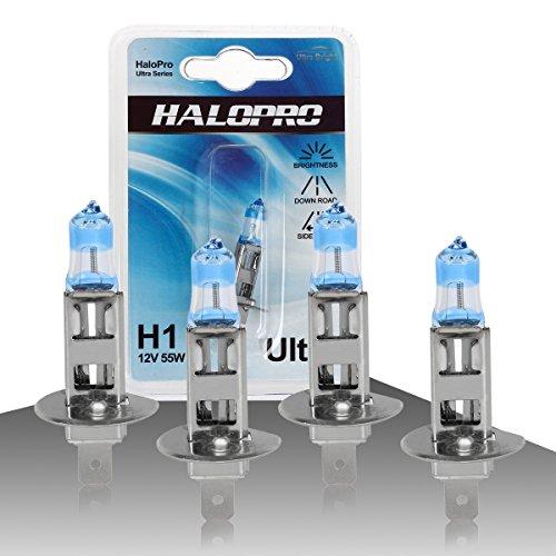 HaloPro H1 12V 55W Ultra white Halogen Bulb Xenon White Halogen Headlight High BeamLow Beam Bulbsfog lightfor Volvo Dodge JaguarPack of 4pcs