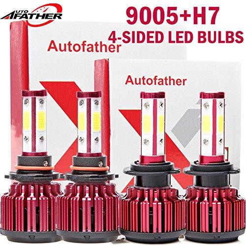 Pair 9005HB3  Pair H7 4-Side LED Combo Headlight Kit Hi Low Beam Bulbs 24000LM 360 Degree Super Bright 6000K Cool White - 2 Year Warranty