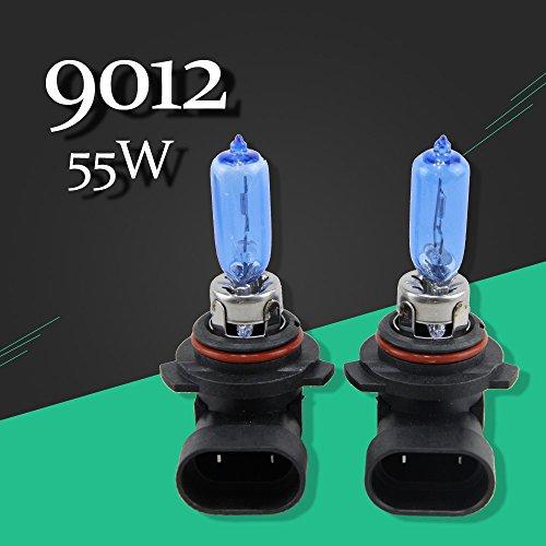 2pcs1 pair 9012HIR2PX22d Halogen 6500k 55W Low-Beam Headlight Bulbs Bright Xenon Replacement White with Blue Quartz glass