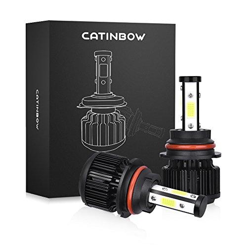 Catinbow LED Headlight Bulbs 9007 HB5 HiLow Beam 4 Side COB Chips LED Headlight Bulbs Conversion Kit 6000K White Automotive Headlamp Bulbs 80W 8000LM with Decoding Function - 2 Pcs