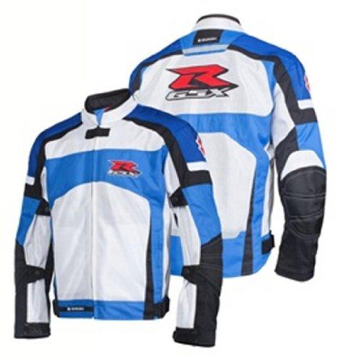 Suzuki GSX-R GSXR Mesh Riding Jacket White Blue Large LRG
