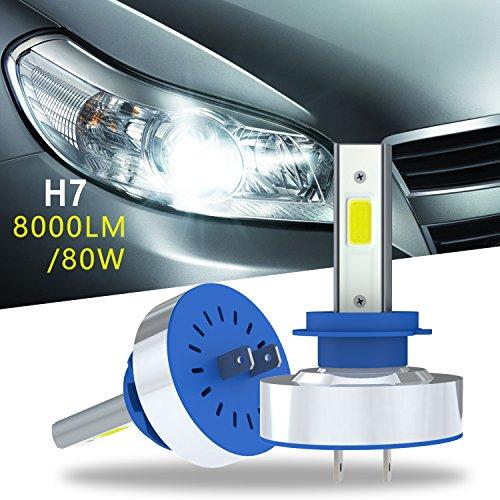 Aokairuisi H7 LED Headlight Bulb Conversion Bulb Kit Auto Car LED Headlamp Bulb HiLo Beam Lighting Fog Light 80W 6500K 8000LM Car Bulb Pack of 2