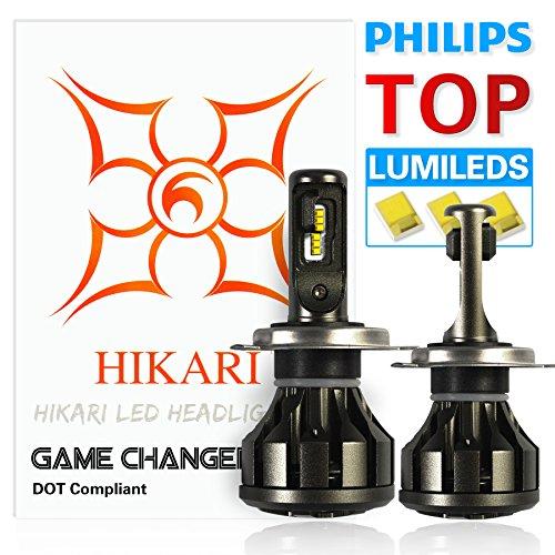 HIKARI Ultra LED Headlight Bulbs Conversion Kit -H4 9003Philips Lumileds 12000lm 6K Cool White2 Yr Warranty