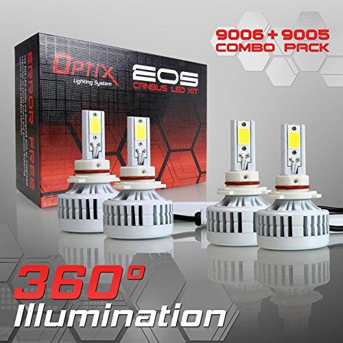 Optix 9006  9005 Low  High Beam Combo - 4pcs LED Headlight Bulb Conversion Kit - 160W 16000LM 6000K 6K White - Canbus Chip Error Free No Flicker Design