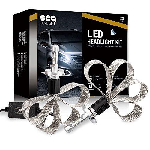SEALIGHT H4 LED Headlight Bulbs Conversion Kit - 100W 12000LM - 32x LED Chips - Cool White 6000K-Dual HiLo Beam Bulbs - H4HB29003 bulbs