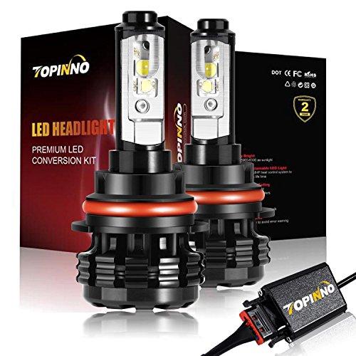 TOPINNO LED Headlight Bulbs Conversion Kit Extremely Bright CREE XHP50 10000LM 9007 - 6000K Xenon White Headlight Assembly