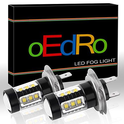 oEdRo H7 LED Fog Light Bulb High Power 80W Super Bright  1200Lm per bulb for DRL White 6000K2-Pack