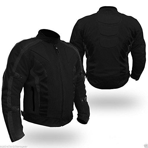 Bikers Gear Black Motorcycle Summer Air Mesh Jacket Armored Waterproof Vented Size Large