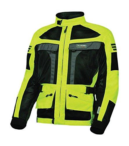 Olympia Moto Sports MJ222 Mens Dakar Dual Sport Mesh Tech Jacket Neon YellowBlack XX-Large