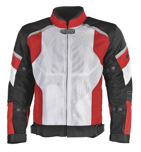 Pilot Mens Direct Air Mesh Motorcycle Jacket WhiteRedBlack X-Large