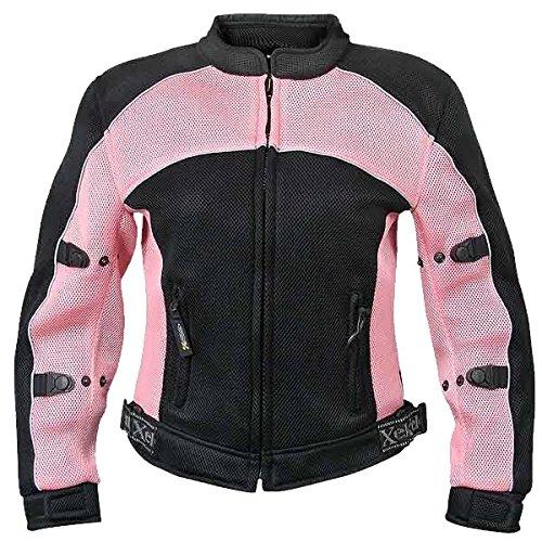 Xelement CF508 Womens BlackPink Mesh Armored Jacket - Large