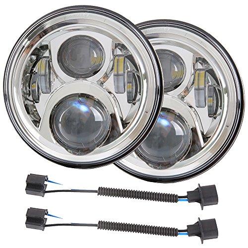 7 inch DOT LED Headlights Bulbs Kit Projector 6000K for Jeep Wrangler JK LJ JKU TJ CJ Sahara Rubicon Freedom Dragon Edition Unlimited Hard Rock Sport Headlamps Lights Lamp Chrome 2PCS