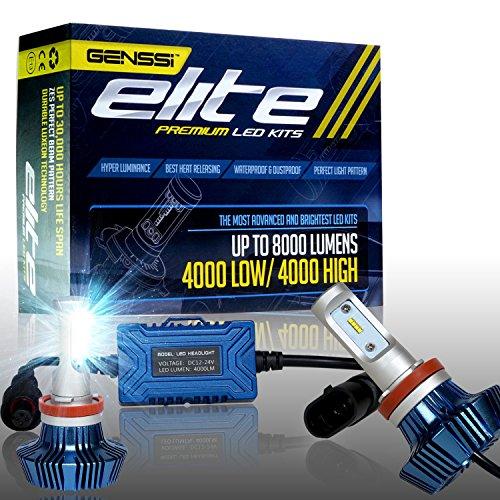 GENSSI Elite LED Headlight Bulbs Kit 6000K Super White Conversion Fits H11 H9