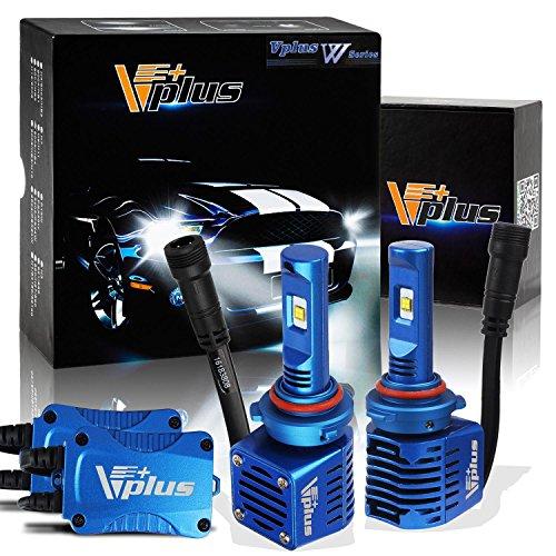 Pair Vplus W Series 9006 HB4 LED Headlight Bulb Kit w Clear Arc-Beam 360°Adjustable Beam Pattern Conversion Kit Bulbs- 80w 14000Lm 6K Cool White CREE