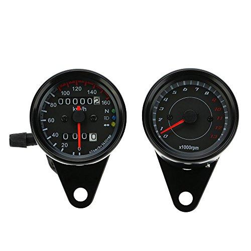 KKmoon 12V Motorcycle 13000 RPM Tachometer Kmh Speedometer Dual Odometer Gauge with LED Backlight Signal Lights