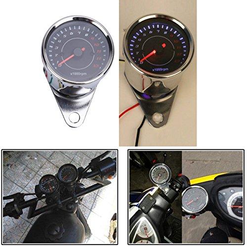 Kawayee 12V Universal Motorcycle Double Color Led Tachometer Gauge 0-13000 RPM Harley