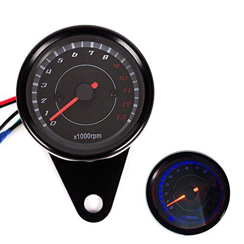 LED Backlight Motorcycle Meter Tachometer Gauge Rev Counter 0-13000 RPM black