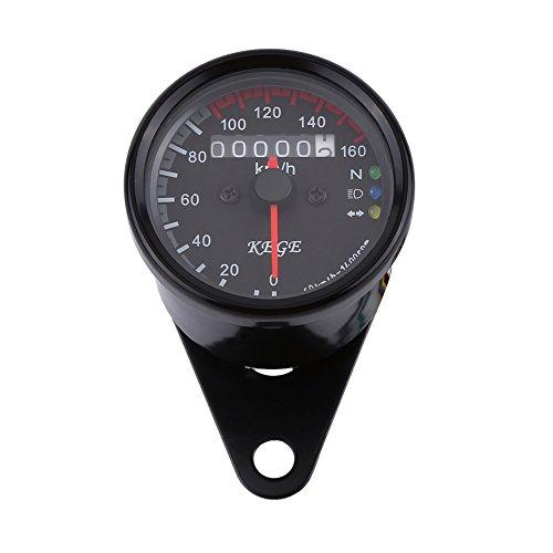 Motorcycle Odometer Speedometer Tachometer Gauge 0-160kmh LED Backlight Signal Light Headlight Indicator - 2 Colors  Color  Black