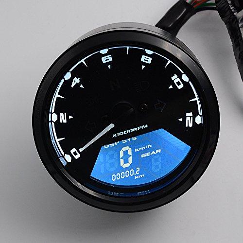 PACEWALKER 52MM2Inch 12000RPM LCD Digital Tachometer Speedometer Odometer for Motorcycle Dirt Bike Boat Marine