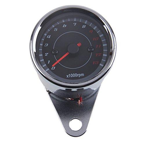 POSSBAY Motorcycle Tachometer Gauges LED Backlight 0-13000 RPM for Harley Suzuki Kawasaki Honda
