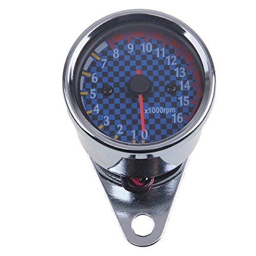 POSSBAY Motorcycle Tachometer LED Backlight 0-16000rpm 12V Universal