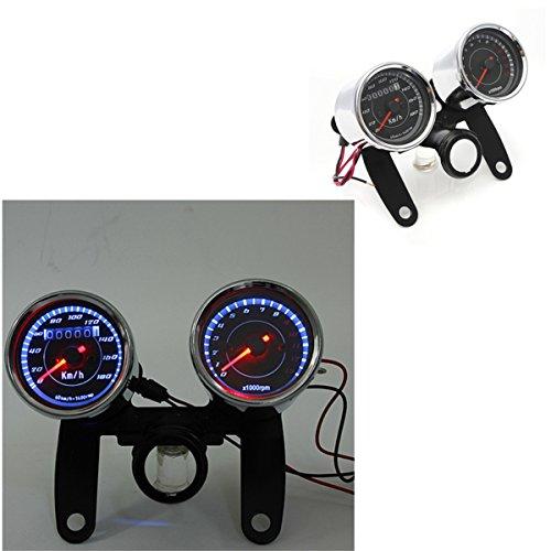 iztor Universal LED Motorcycle TachometerOdometer Speedometer Gauge