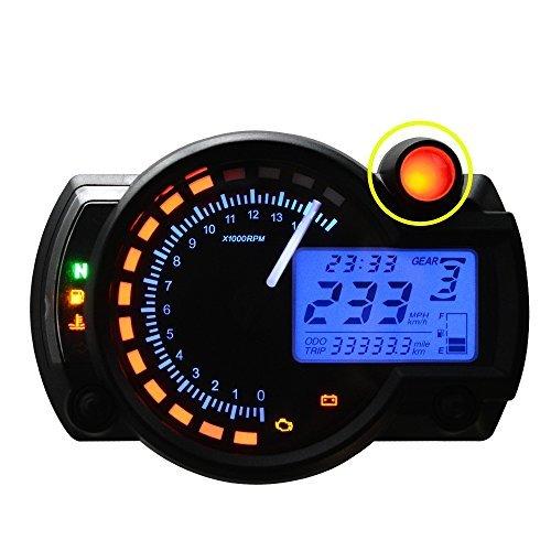 All-in-One Motorcycle Odometer Speedometer Tachometer Gauge RPM 15000 Universal LCD Digital Kit