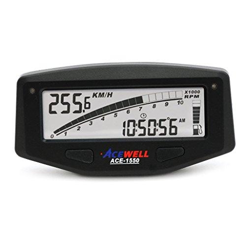 Black Acewell 1550T Digital LCD Multifunction SpeedometerTachometer