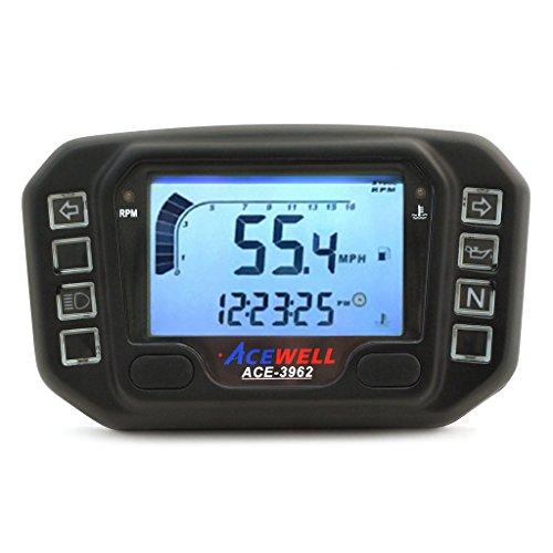 Black Acewell 3962 Digital LED Speedometer Tachometer