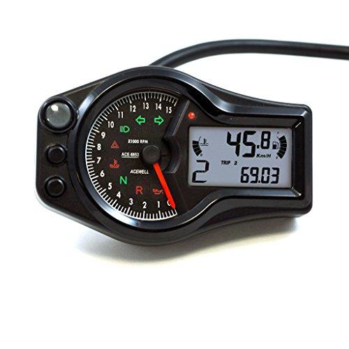 Black Acewell 6653-W Digital LED Speedometer Tachometer