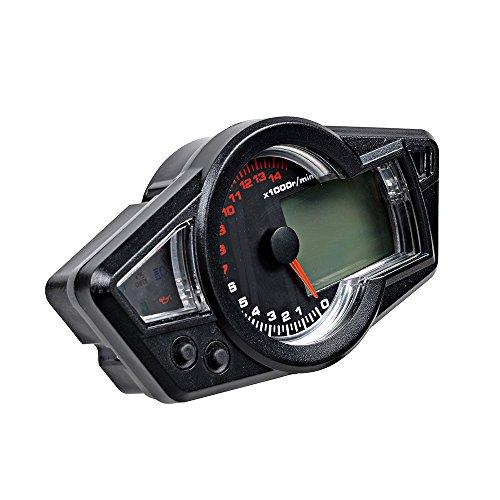 Motorcycle Black 15000 RPM Multi Function Odometer Speedometer Tachometer Gauge LCD Digital Set