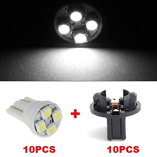 Partsam 10pcs White T10 194 168 LED Light Bulb 4-SMD W Twist Lock Sockets Holders Instrument Panel Cluster Speedometer Tachometer Gauges Lighting Lamp