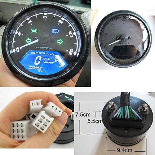 Reddragonfly - 199 kmh 12000 rpm LCD Digital Speedometer Tachometer Odometer mph  kmh for Honda Motorcycle Sctoor Golf Carts ATV