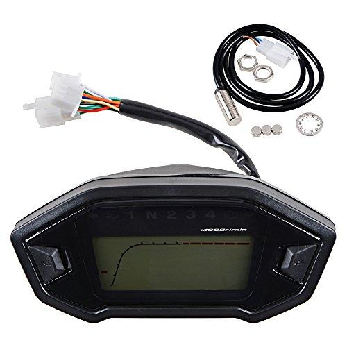 Universal Motorcycle Odometer Speedometer Tachometer Gauge Orange LCD Digital Backlight