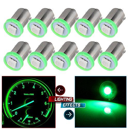 CCIYU 10X BA9S LED SMD 1895 DASH INSTRUMENT PANEL CLUSTER Ash Tray Light Bulbs BA9S 1-5050-SMD Light Bulbs For Dashboard Gauge cluster Speedometer Odometer Map light Green