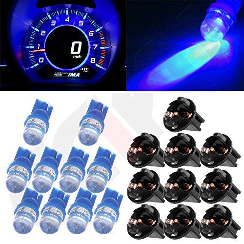 CCIYU 10x T10 168 184 Diode Led Bulbs Blue Dashboard Gauge Light Speedometer Odometer Tachometer LED light wSocket
