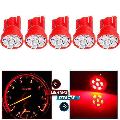 CCIYU 5x Red Instrument Panel Cluster Bulbs T10 194 168 LED Light 6-SMD Chip Speedometer Odometer Gauges Dash Lamp