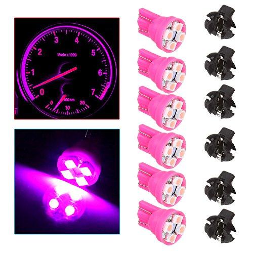 CCIYU T10 194 Pink 4-3528-SMD LED Bulbs With Twist Lock Sockets Instrument Panel Speedometer Odometer Temp Gauges Lighting Indicators Lamp Total of 12 Pcs