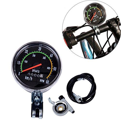 Iglobalbuy 26-27 Old School Style Waterproof Motorized Bike Engine Analog Speedometer Odometer RPM with Hardware