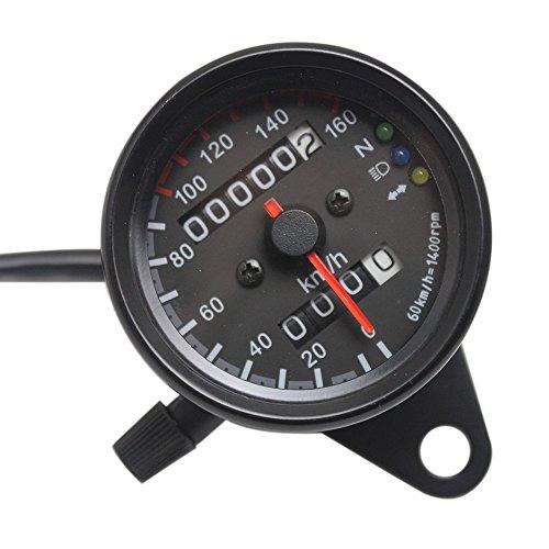 KKmoon Universal Motorcycle Speedometer Odometer 12V Motorcycle Dual Speed Meter with LED Indicator