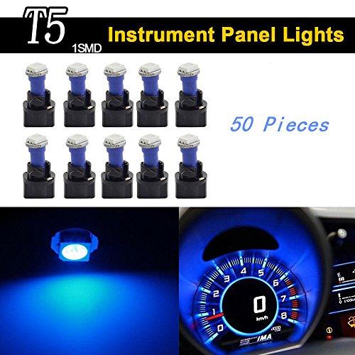 Keyecu 50 Pieces Blue 12V PC74 T5 1SMD 5050 LED Car Motorcycle Instrument Panel Cluster Gauge Dash Light Speedometer Odometer Tachometer Lamp 50 Blue