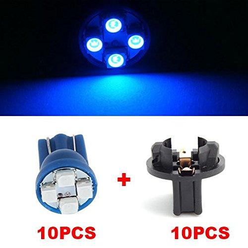Partsam 10pcs Blue T10 194 168 LED Light Bulb 4-SMD With Sockets Instrument Panel Cluster Speedometer Odometer Temp Gauges Lighting Lamp
