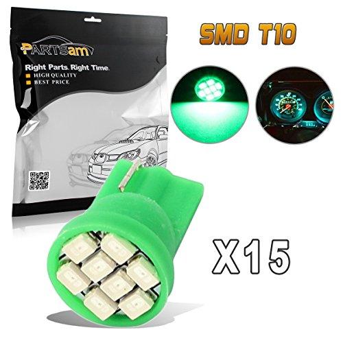 Partsam 15pcs Green T10 PC194 168 LED Light Bulb 8-SMD Instrument Panel Cluster Speedometer Odometer Temp Gauges Lighting Lamp