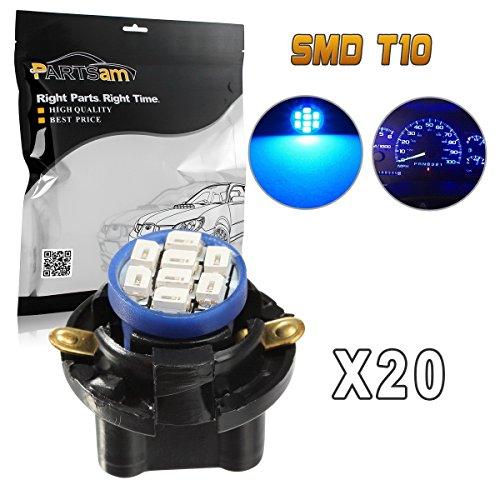 Partsam 20pcs Blue T10 194 LED Light Bulb 8-Epistar-SMD With Sockets Instrument Panel Speedometer Odometer Lighting Indicators Lamp