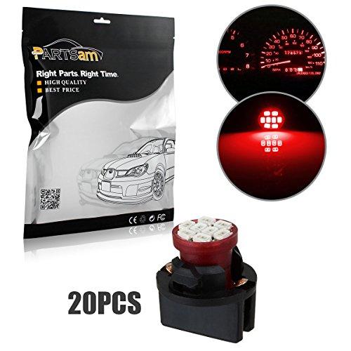 Partsam 20pcs Red T10 194 168 W5W LED Light Bulb 8-Epistar-SMD With Sockets Instrument Panel Speedometer Odometer Temp Gauges Lighting Lamp